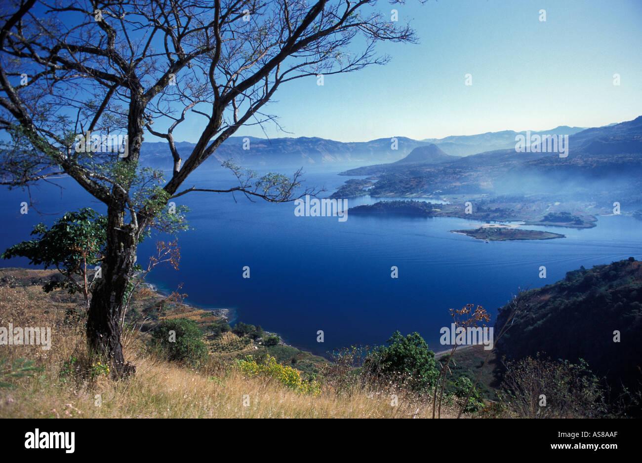 Lake Atitlan viewed from the lower slopes of San Pedro volcano at dawn Santiago Atitlan below Guatemala - Stock Image