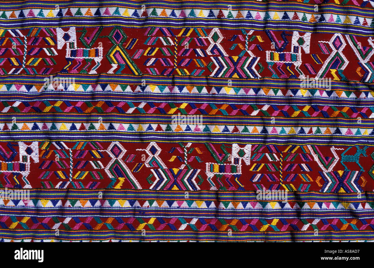 A footloom woven huipil with birds horses and geomteric motifs Distinctive tribal costume of Nebaj Ixil triangle Guatemala - Stock Image