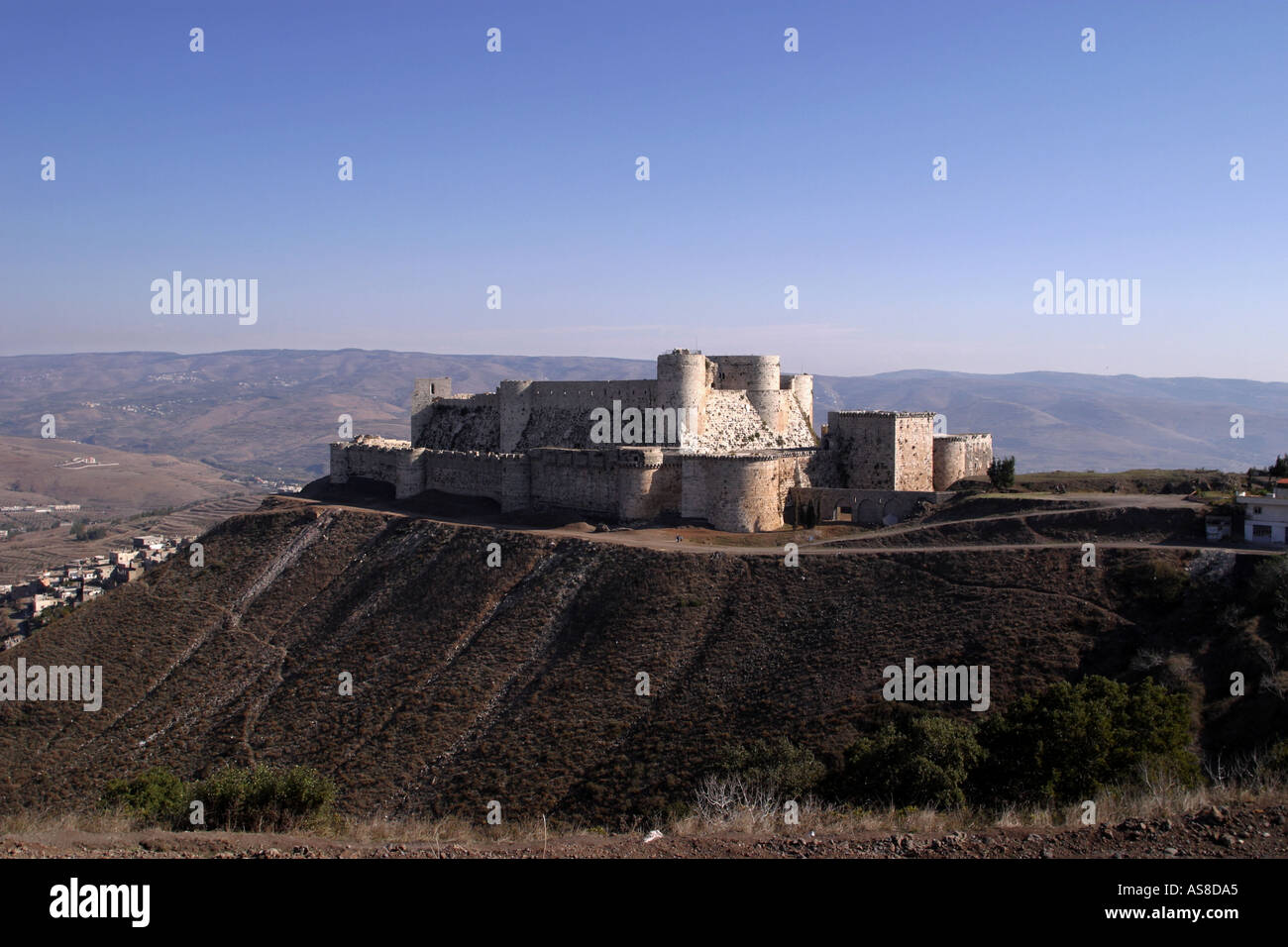 The Krak des Chevaliers Crusader Castle in Syria - Stock Image