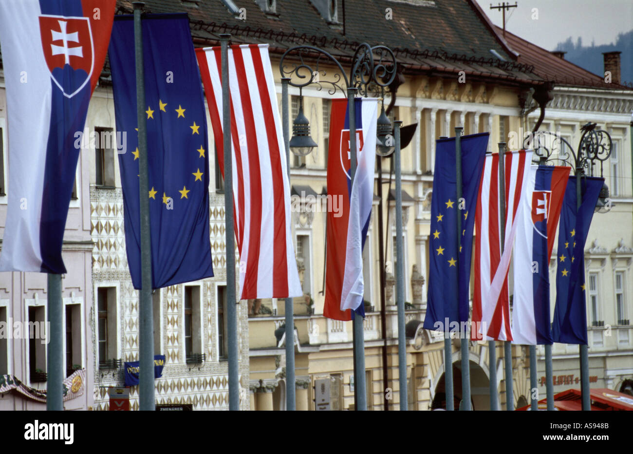 European Union Flags at Banska Bystrica town square, Slovakia - Stock Image