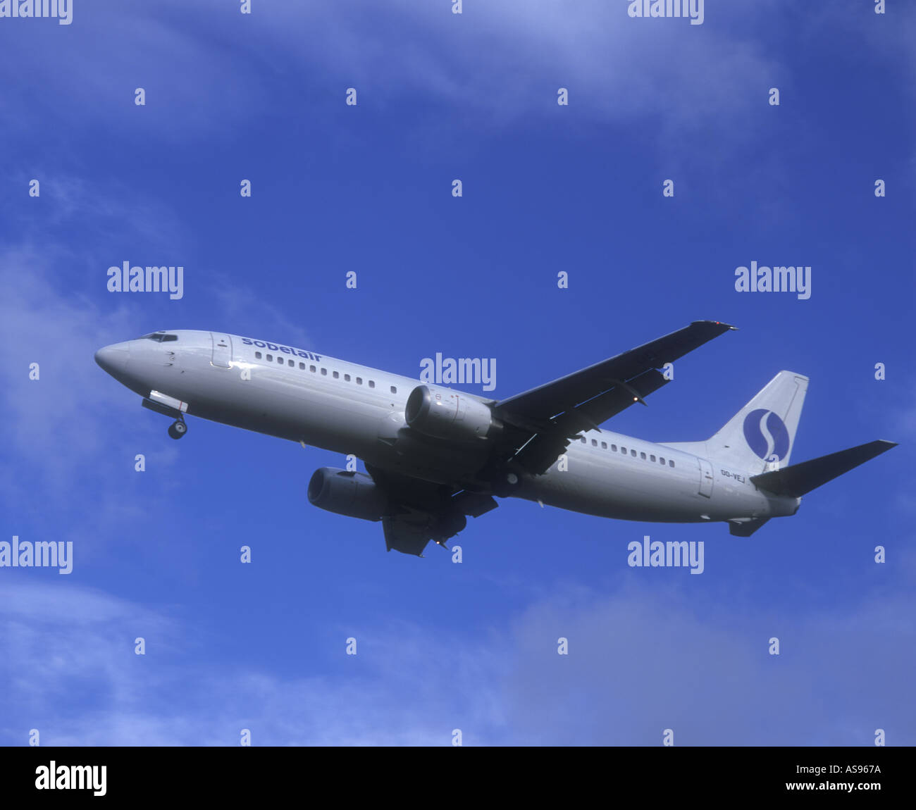 Boeing 737 airliner Sabena airlines out of business Edinburgh Scotland Stock Photo