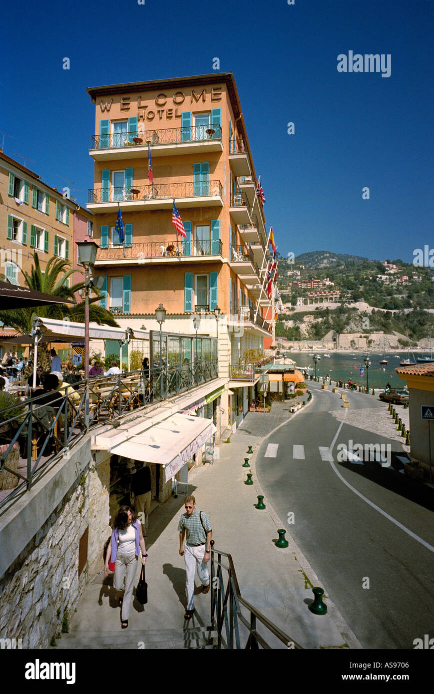the welcome hotel at villefranche sur mer overlooking the narrow road stock photo 1611525 alamy. Black Bedroom Furniture Sets. Home Design Ideas