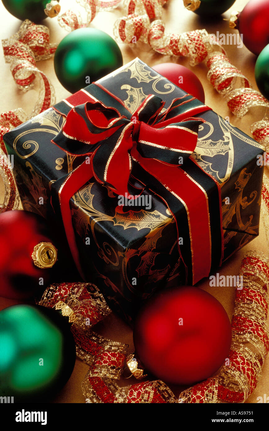 Gift Wrapped Christmas Box And Ornaments Stock Photo Alamy