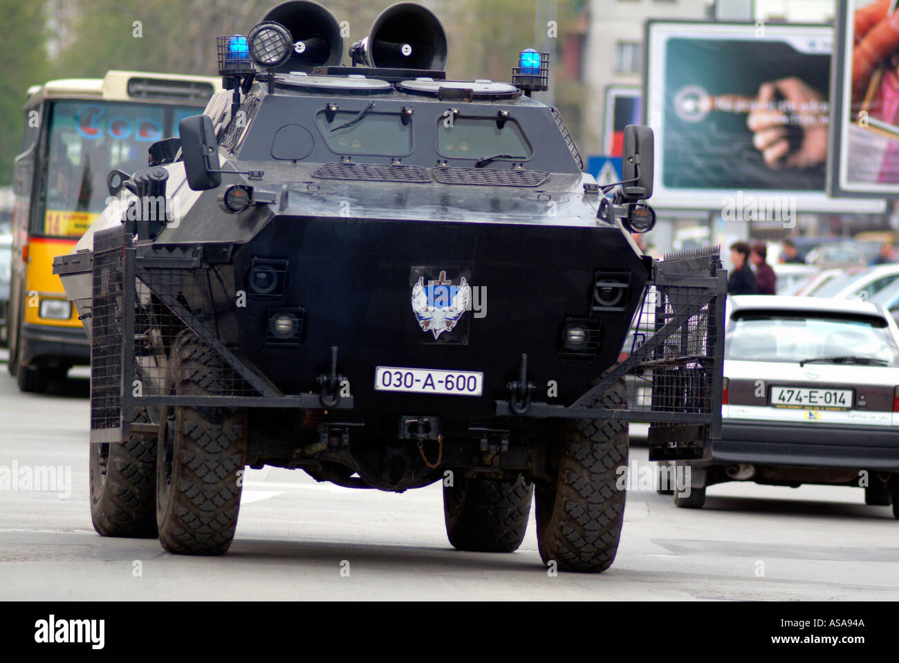 439bfc6284 Bosnian Serb Special Forces Police BRDM Armoured Vehicle on the Streets of  Banja Luka