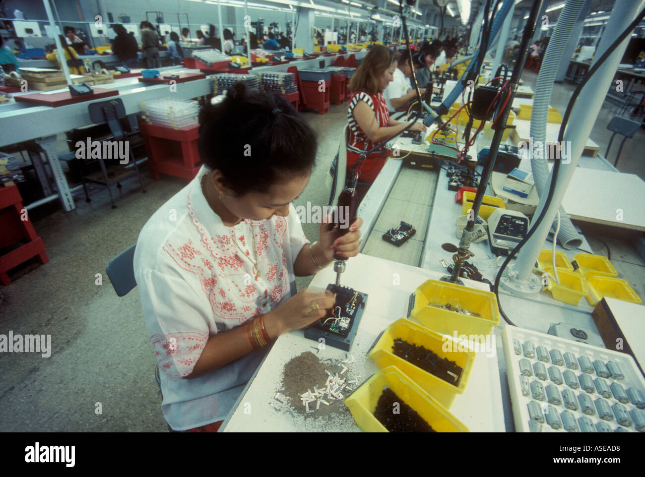 women workers at an assembly factory - Stock Image