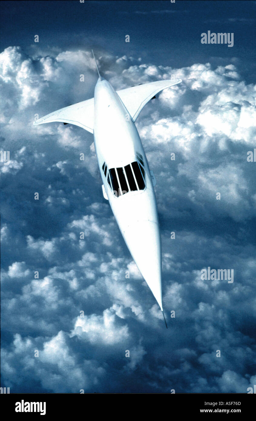 Concorde flying supersonic at high altitude - Stock Image