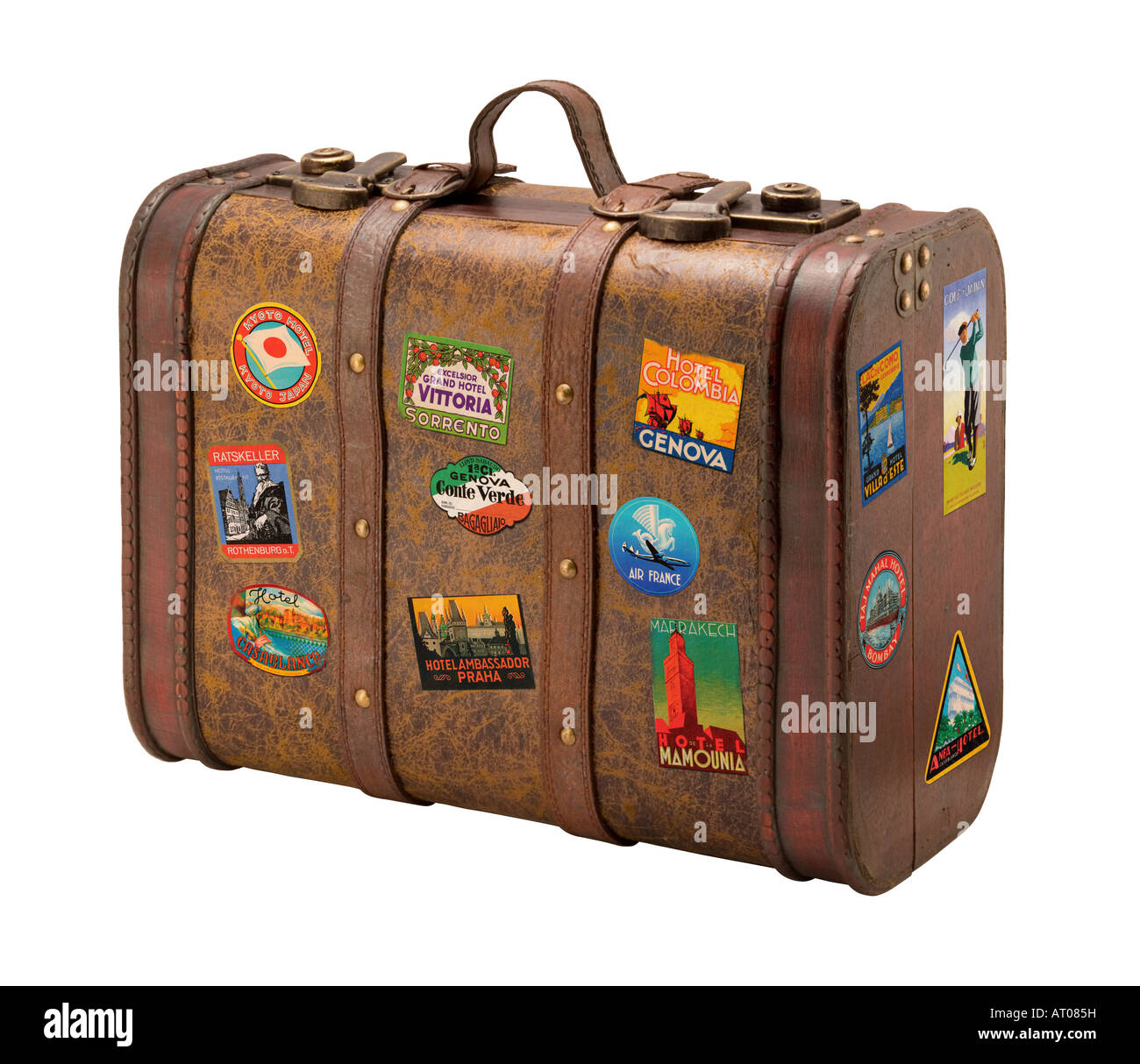 Old Suitcase isolated on a white background. - Stock Image