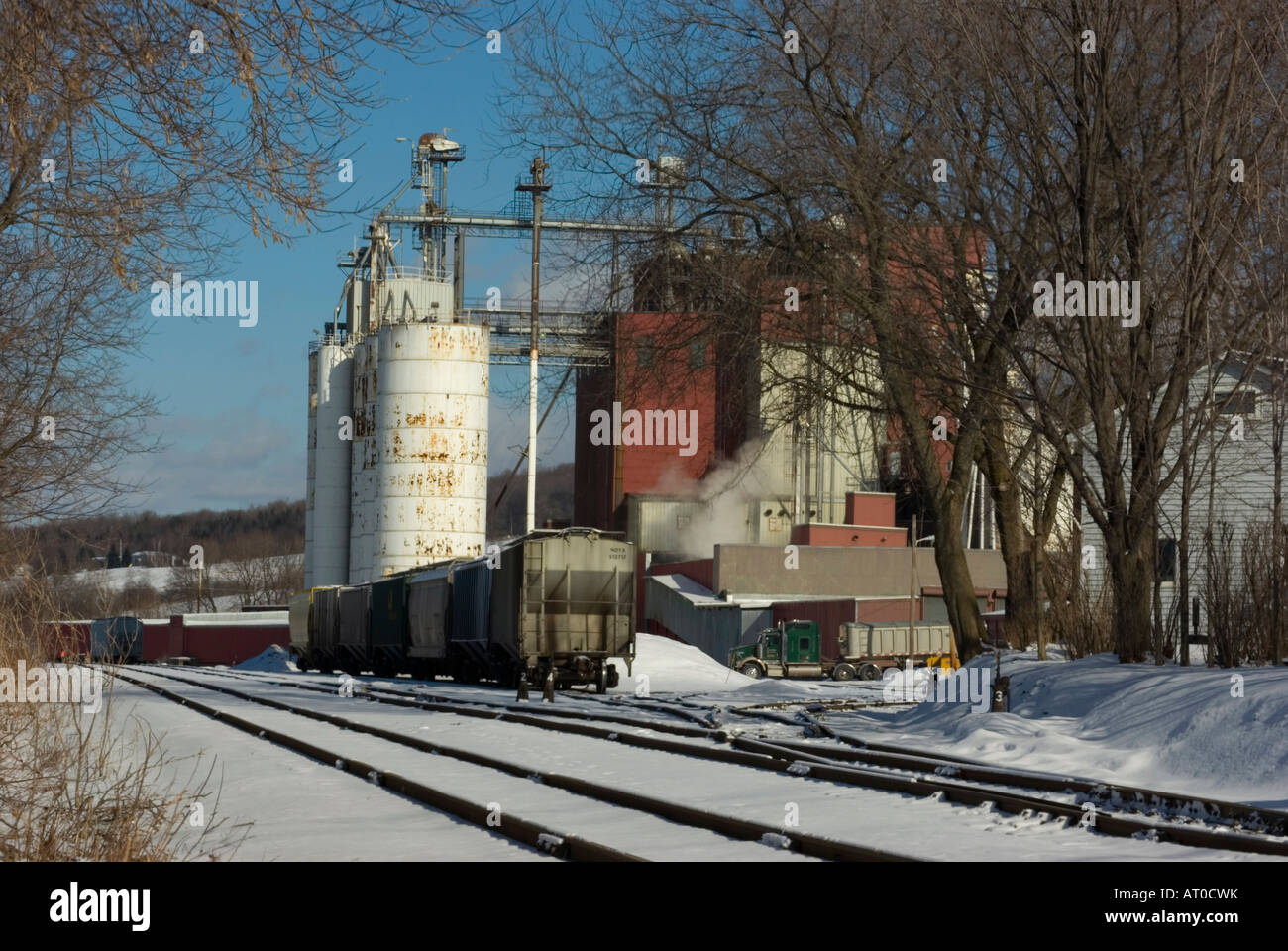 Rail siding at animal feed facility with storage containers freight