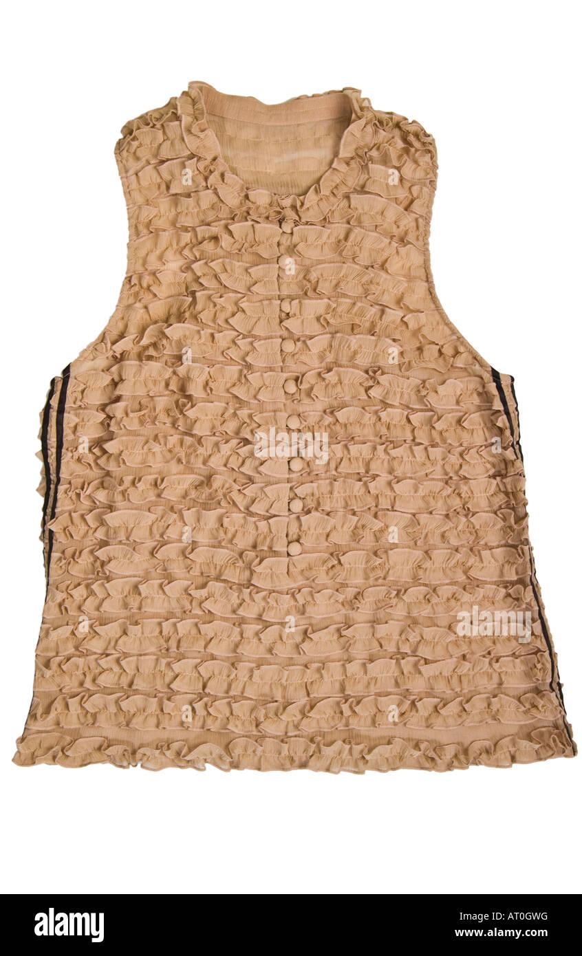 silk sleeveless Fashion frill camel top - Stock Image
