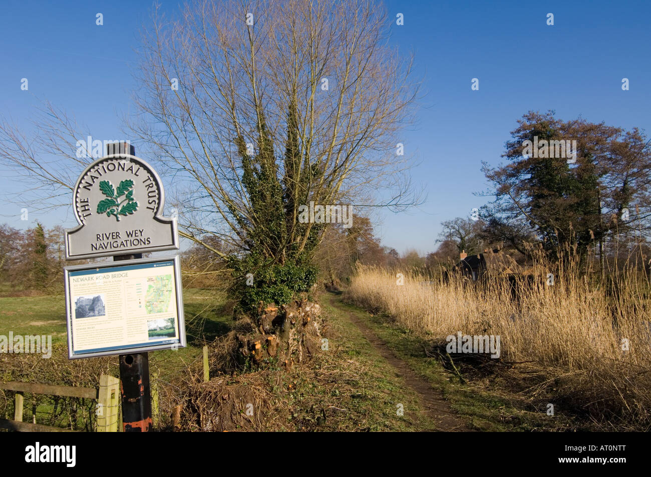 National Trust River Wey Navigation System Ripley Surrey UK - Stock Image