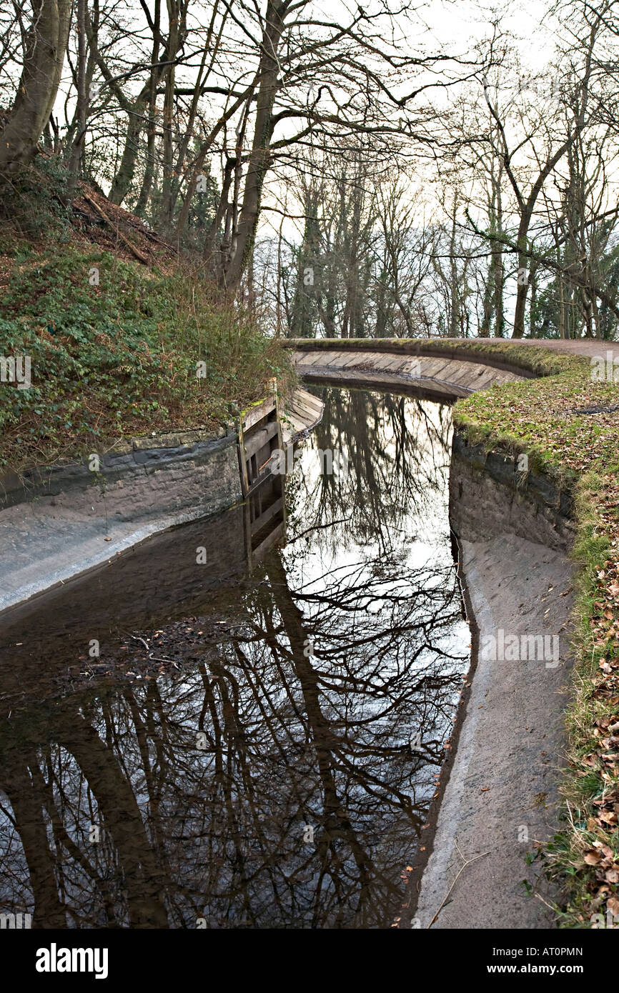 Drained section of Brecon and Monmouthshire canal showing concrete lining Wales UK - Stock Image