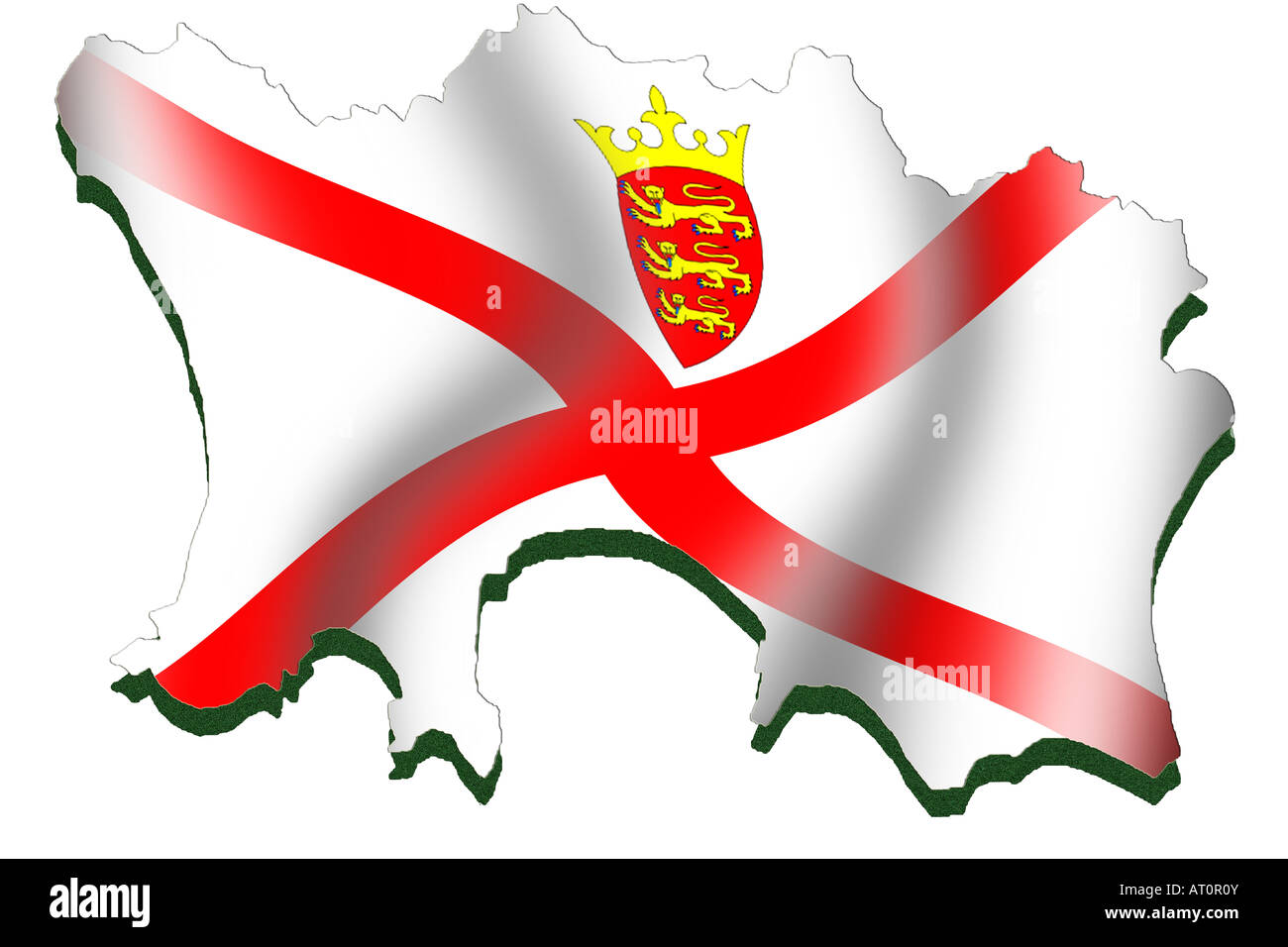 Outline map and flag of Jersey Stock Photo: 16164410 - Alamy