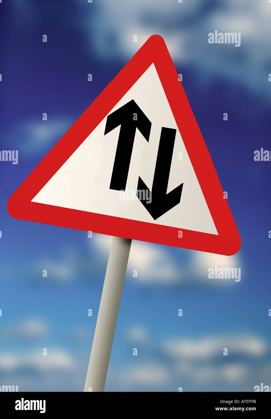 Equal right of way road sign - Stock Image