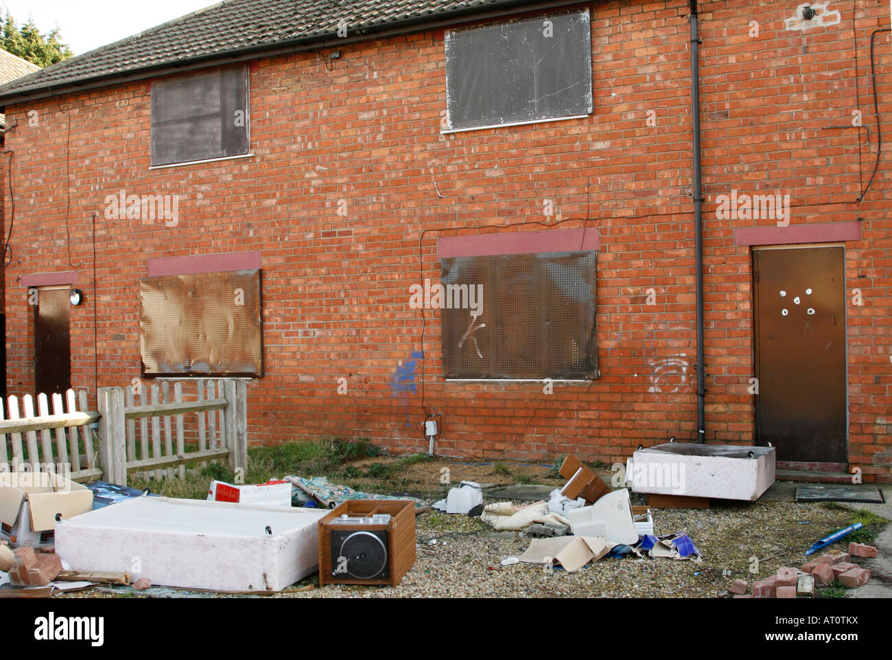 Boarded up council housing awaiting demolition in St. Pauls, Cheltenham, UK - Stock Image