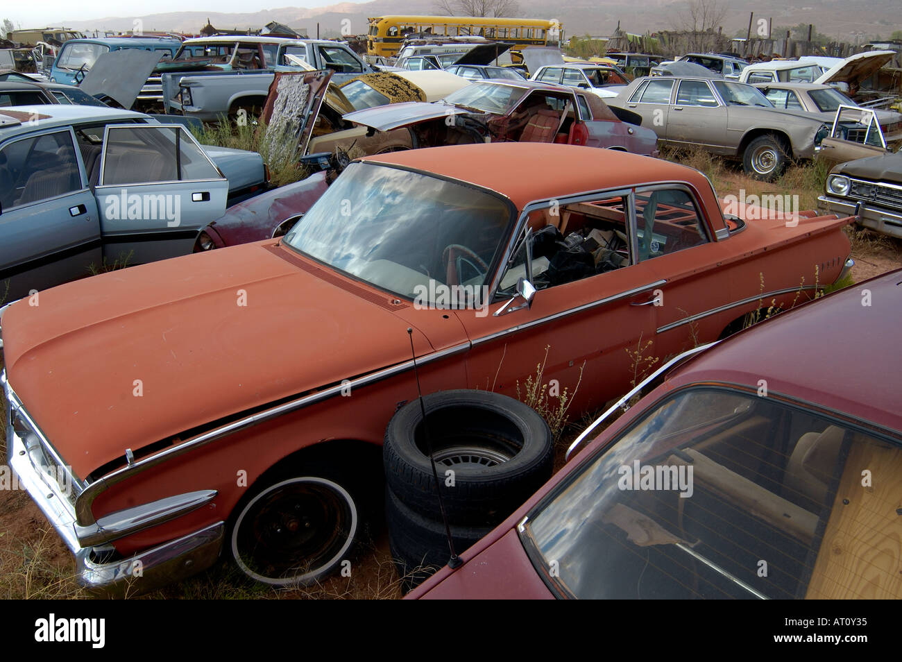 Old cars in a yard for spare parts, Utah, USA Stock Photo: 5278516 ...