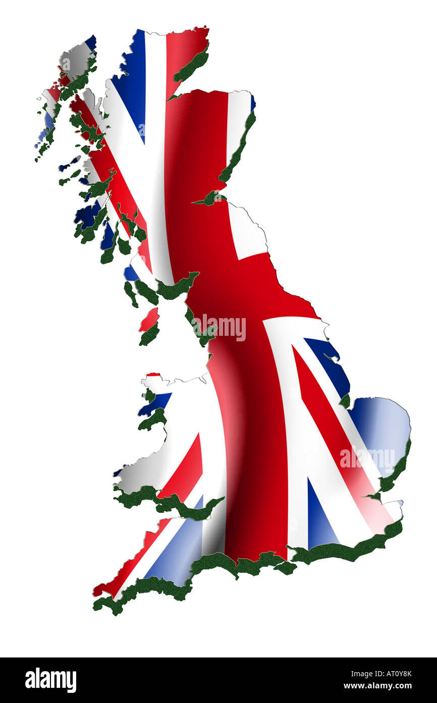 Outline map and flag of Great Britian - Stock Image