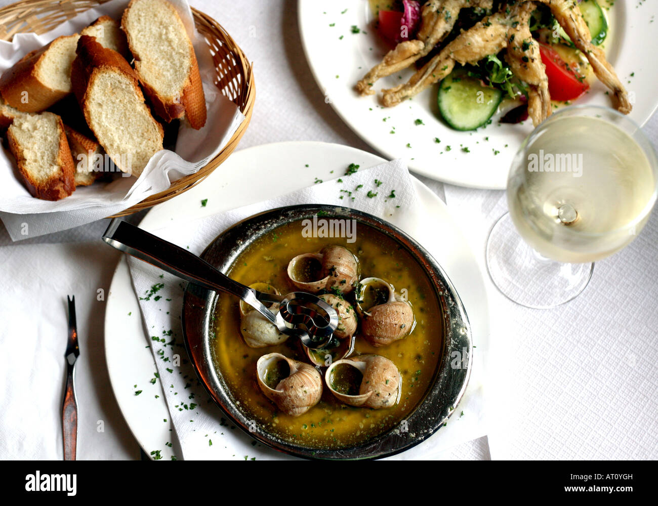 National dishes of France. Frog legs in French. French onion soup. Croissants. Baguette 59