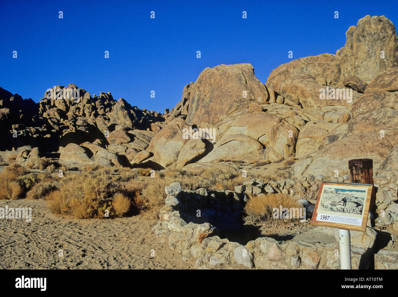 Interpretive sign placed at Alabama Hills during the Lone Pine Film Festival  points out film location site - Stock Image