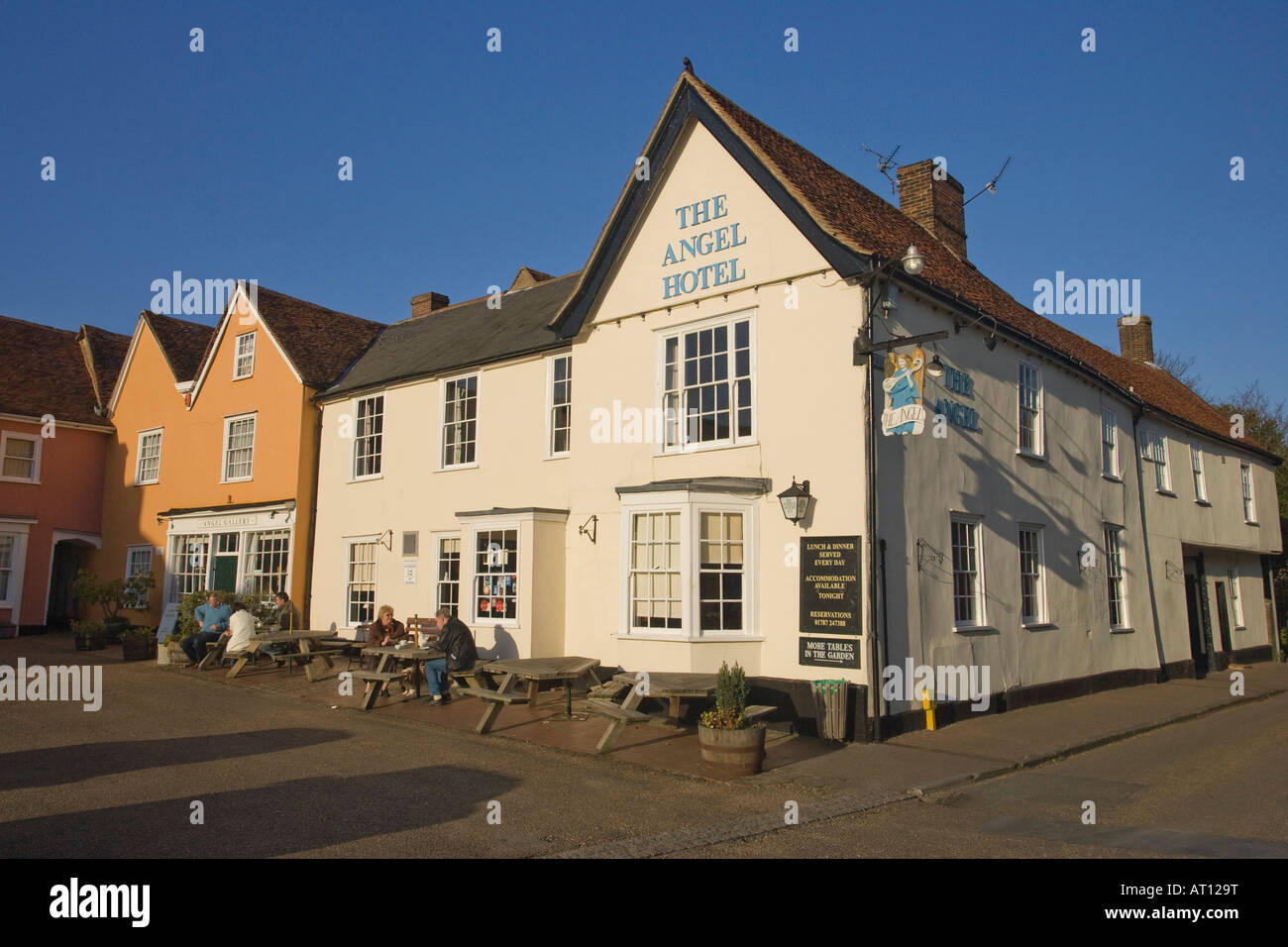 """""""The Angel Hotel"""" in the Market Place of Lavenham, Suffolk, UK, 2008 Stock Photo"""