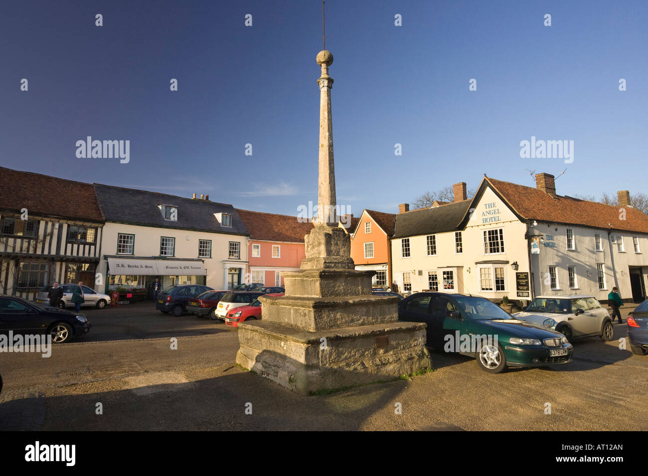 The Market Place in Lavenham, Suffolk, UK, 2008 Stock Photo