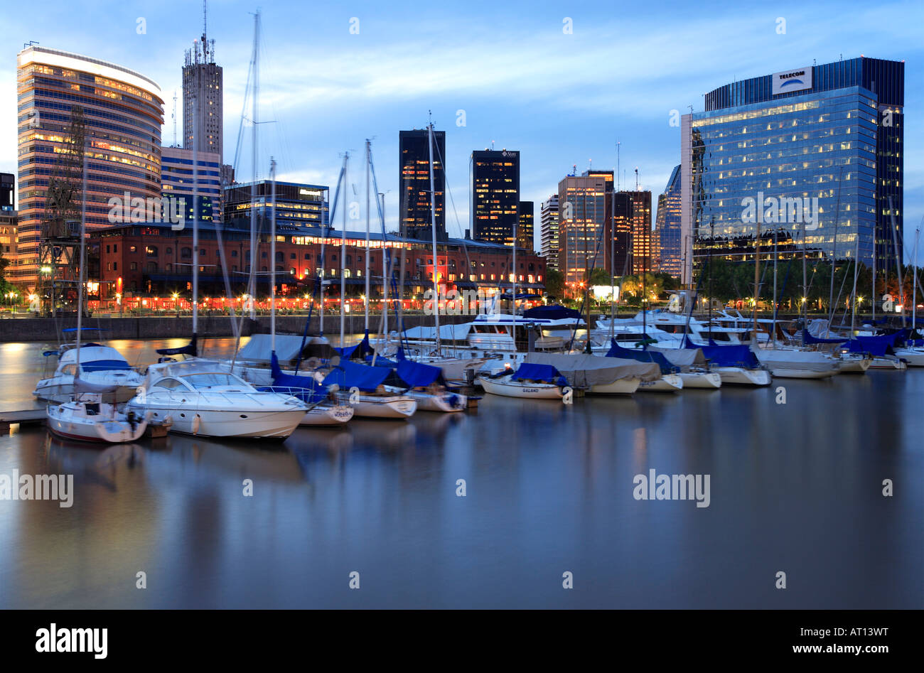 Puerto Madero yacht  club view at dusk with water reflections and lights,Buenos Aires, Argentina - Stock Image