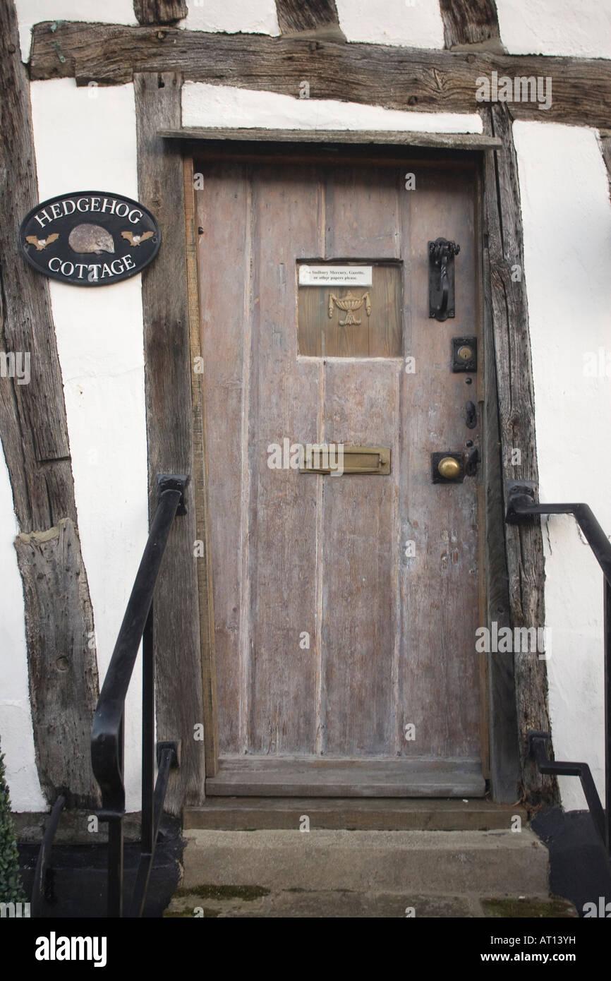 front door of 'Hedgehog Cottage' in Lavenham, Suffolk, UK, 2008 - Stock Image