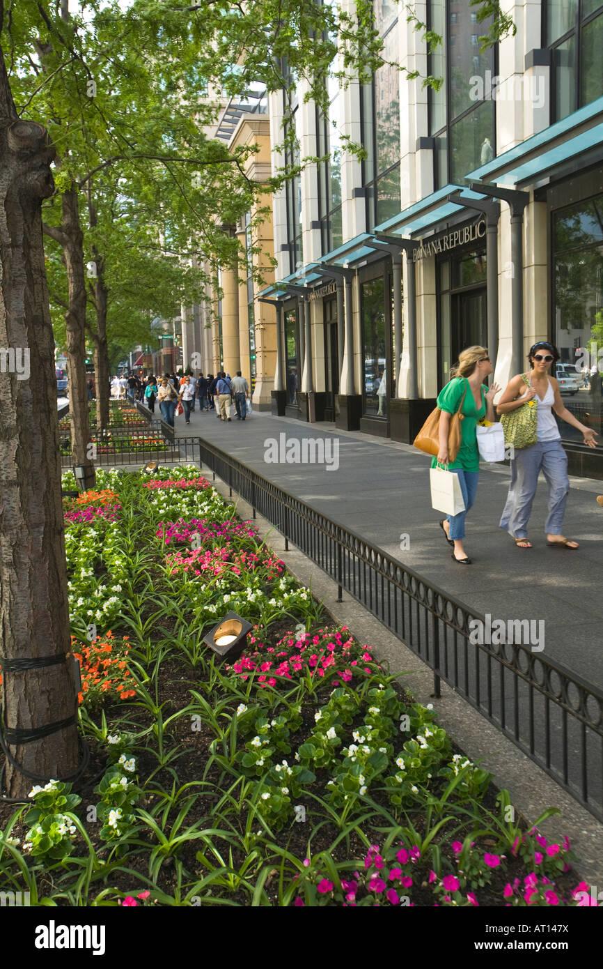 Illinois Chicago Two Women Shoppers Walking Down Michigan Avenue