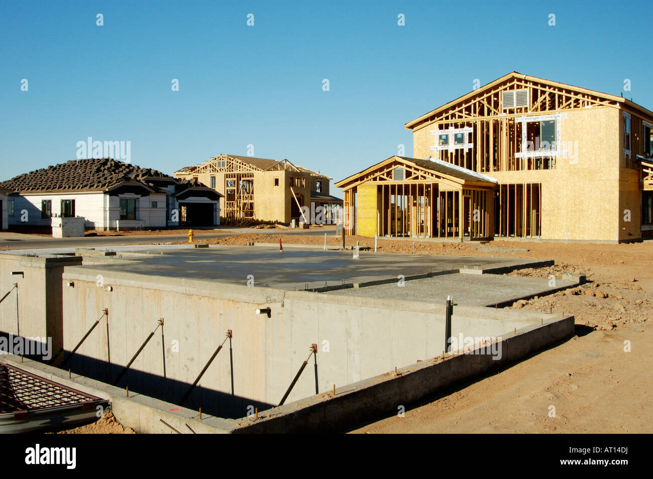 Details of new home construction in a new residential