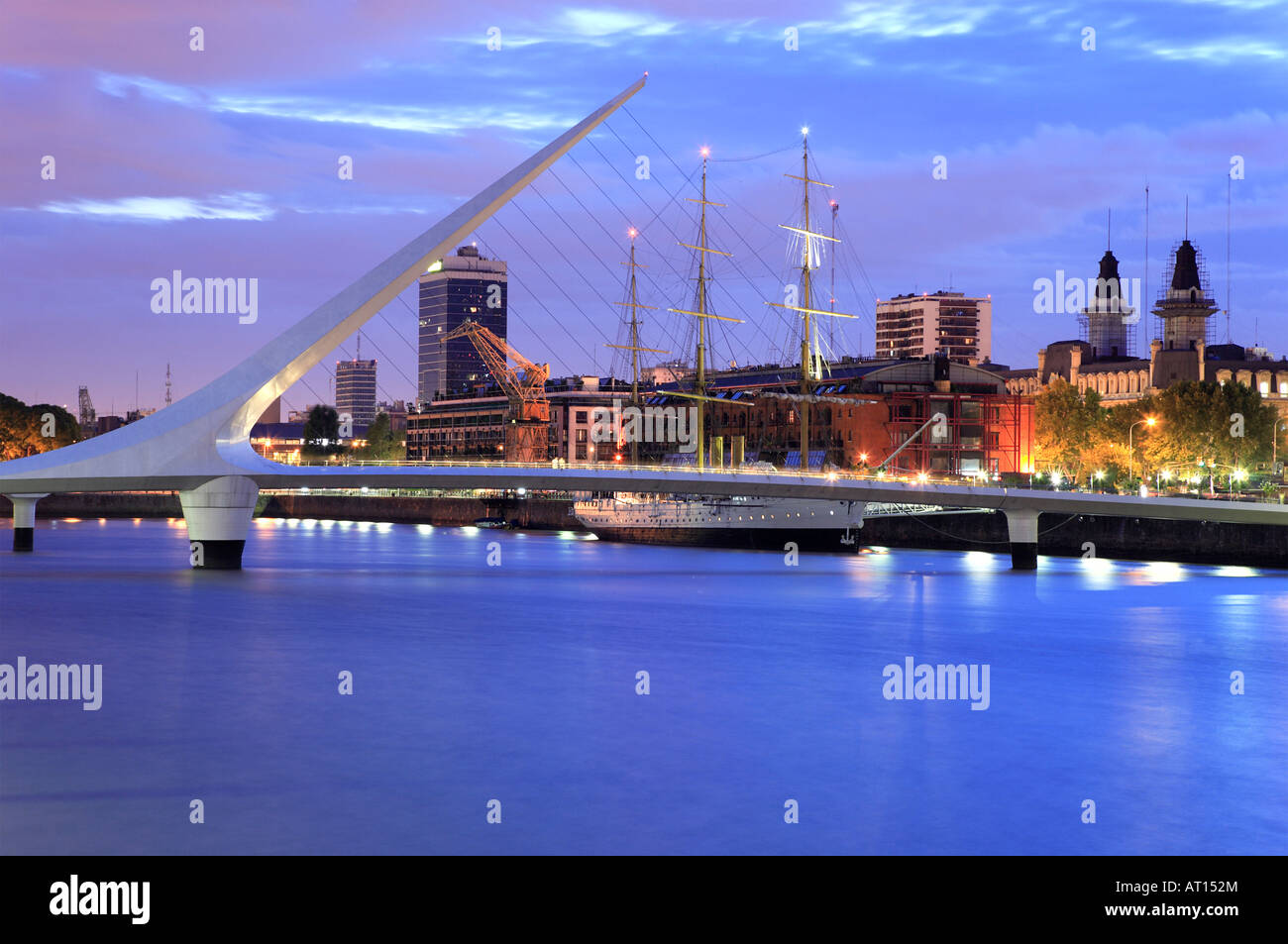 Calatrava ´ s bridge of the woman and  Sarmiento Frigate, at  Puerto Madero, Buenos Aires, Argentina - Stock Image