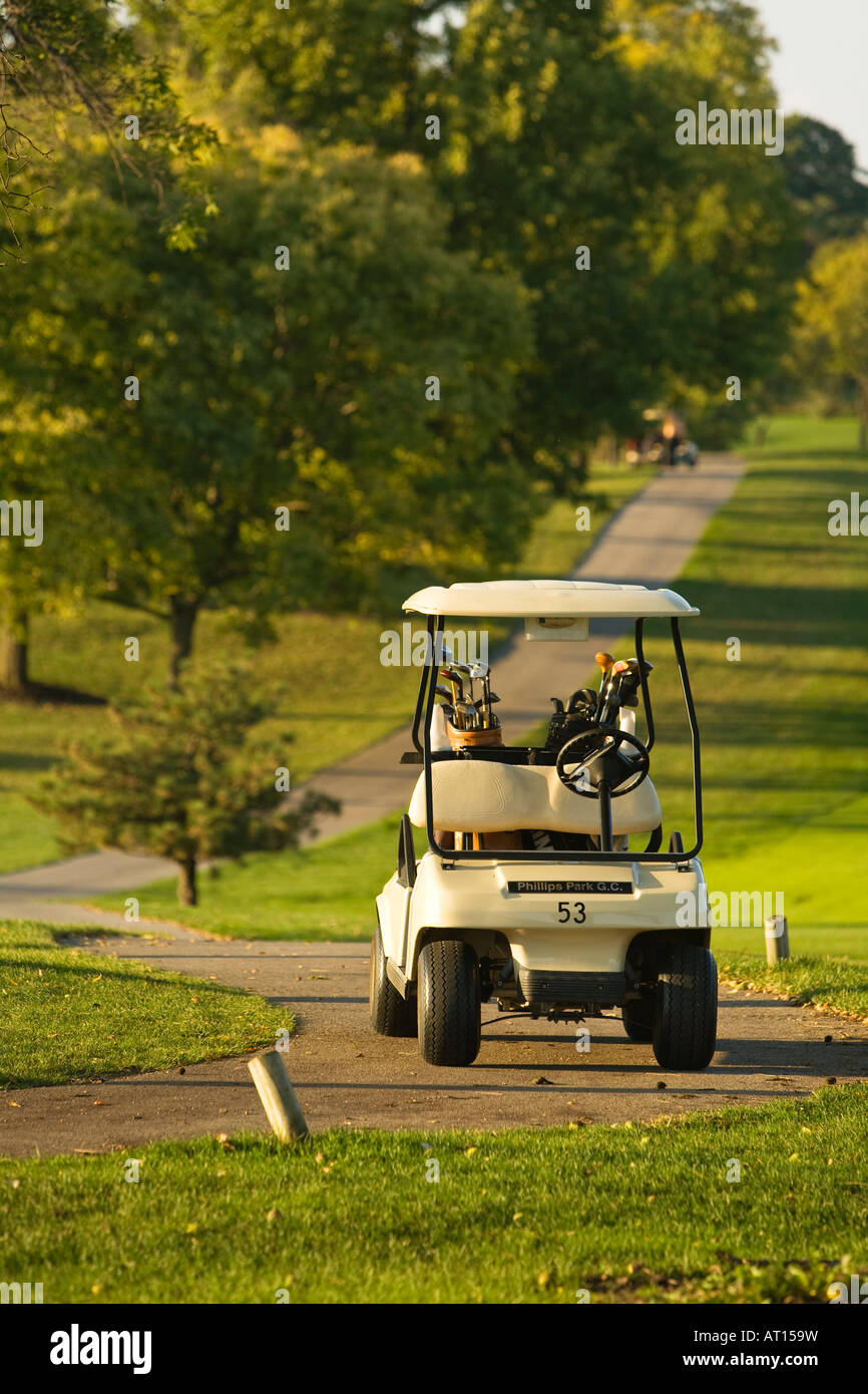 ILLINOIS Aurora Golf cart parked on cart path at Phillips Park golf course - Stock Image