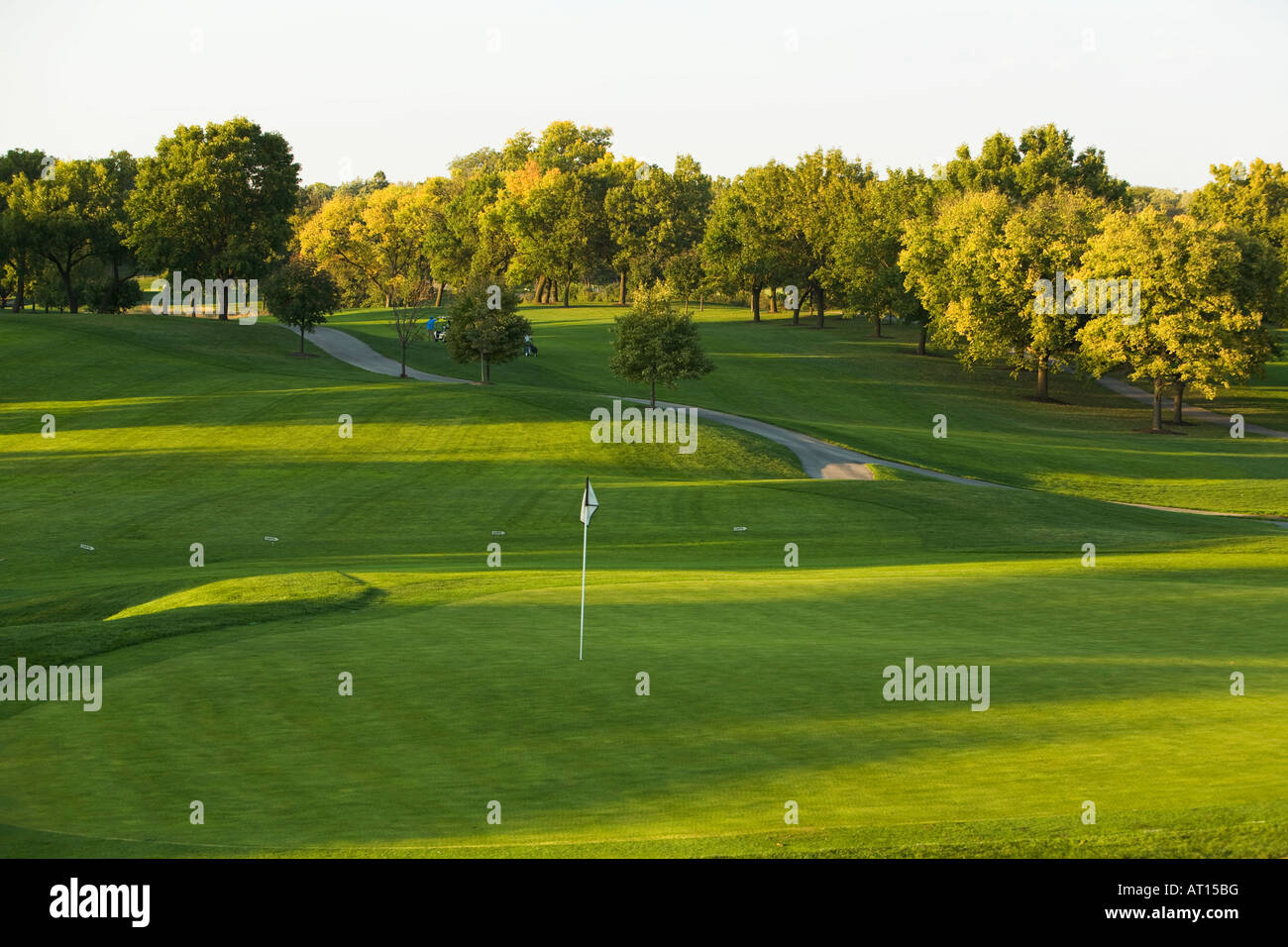 ILLINOIS Aurora View of green and fairway at Phillips Park golf course in late afternoon - Stock Image