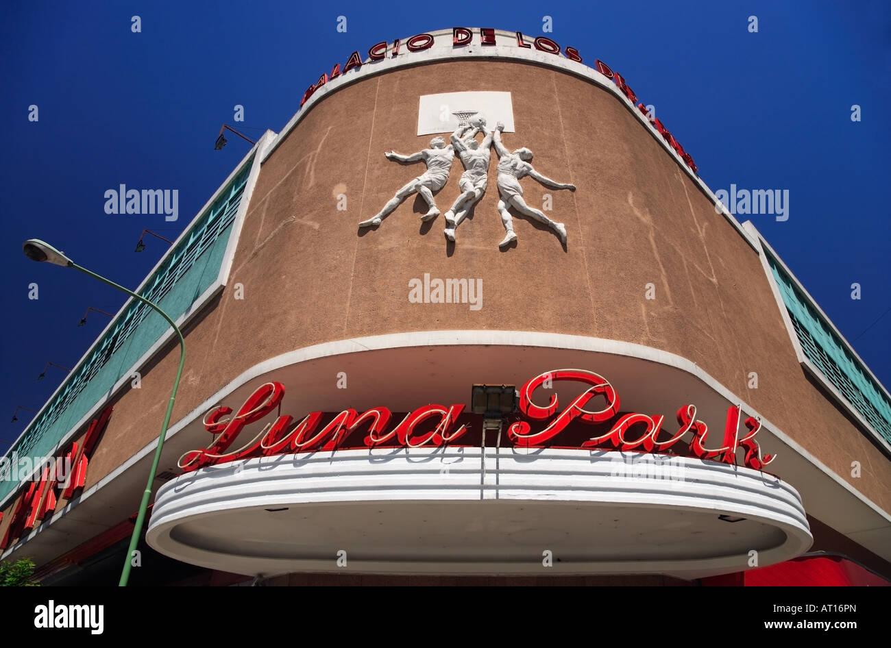 Luna Park Stadium Facade Corner, Downtown, Buenos Aires, Argentina - Stock Image