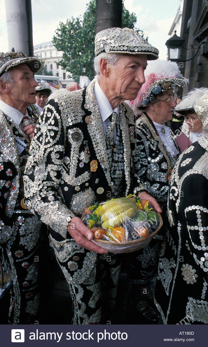 Pearly Kings and Queens arrive at St. Martin in the Fields church for their Harvest Festival Service, UK - Stock Image