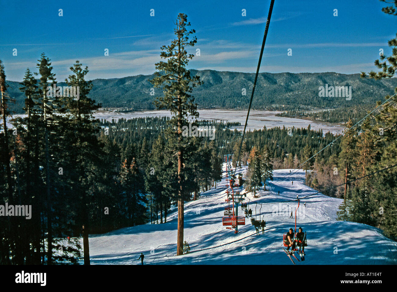 chair lift at big bear mountain ski resort, california usa stock