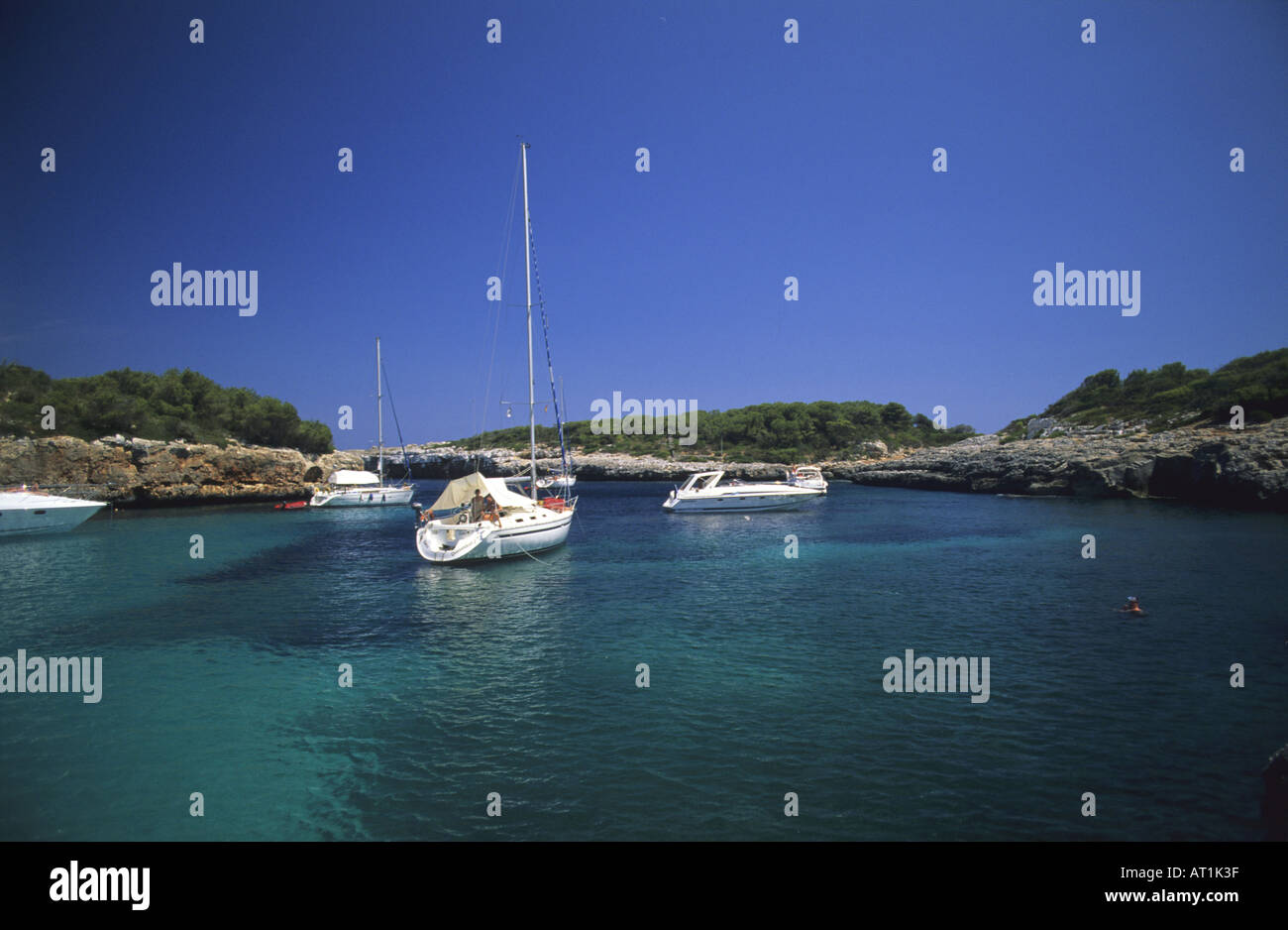 Beach of Sa Nau Felanitx Majorca The Balearic Islands Spain - Stock Image