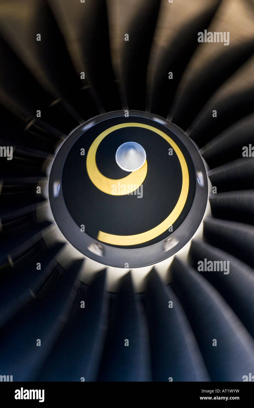 Closeup of the air inlet of an IAE V2500 turbofan engine. - Stock Image