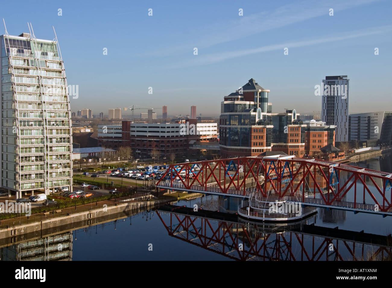 Salford Quays Manchester. Includes NV Building, Huron and Erie Basin and Detroit Bridge. - Stock Image