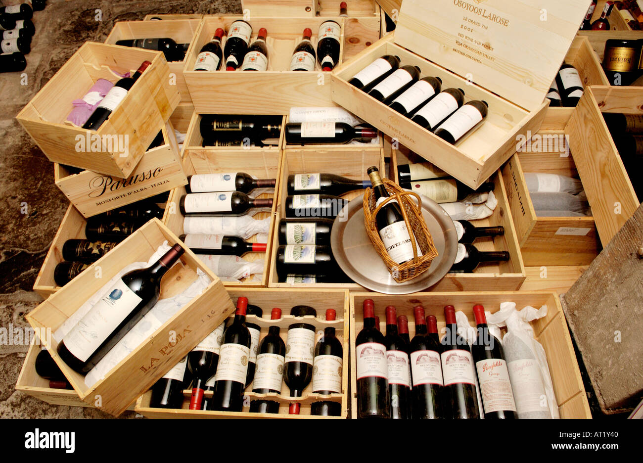 Wooden boxes of expensive red wine in the cellar of Hotel du Vin ...
