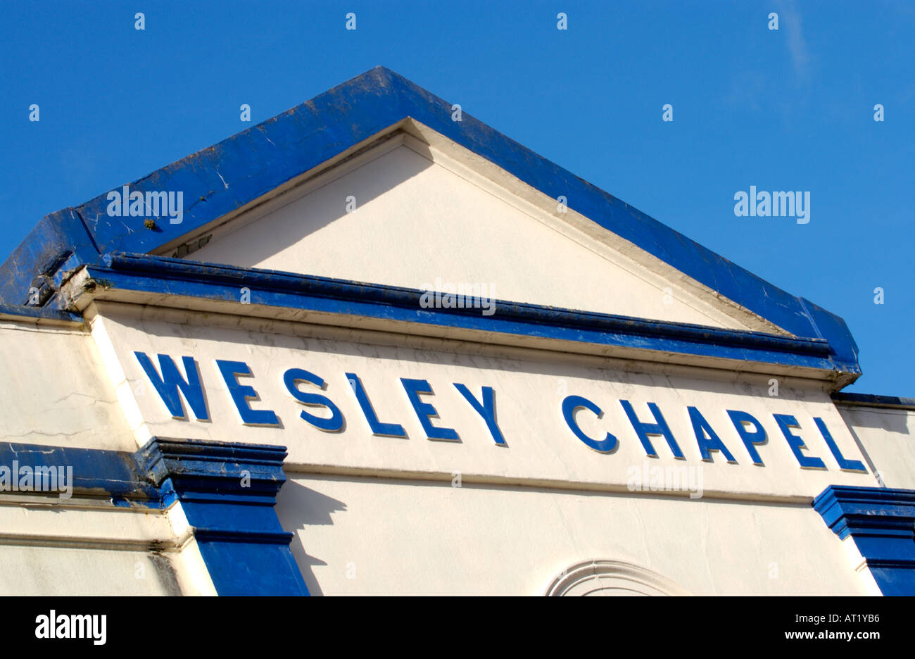 Former Wesley Chapel, Pontmorlais, Merthyr Tydfil, South Wales, UK built 1866 now used as a furniture warehouse - Stock Image