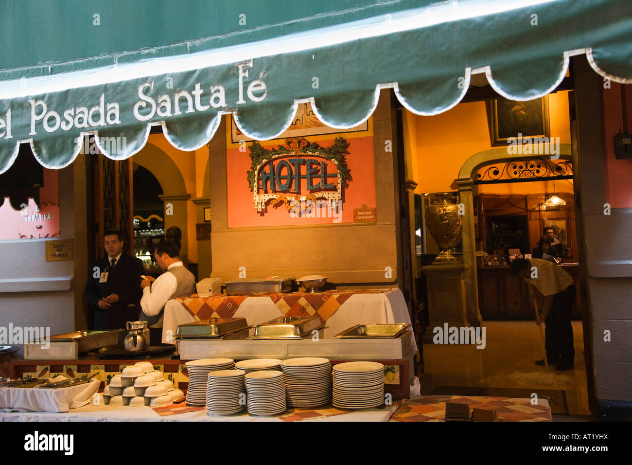 MEXICO Guanajuato Buffet table outside Hotel Posada Sante Fe ...