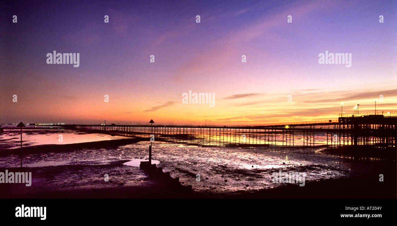 Southend Pier Southend on Sea Essex at sunset - Stock Image