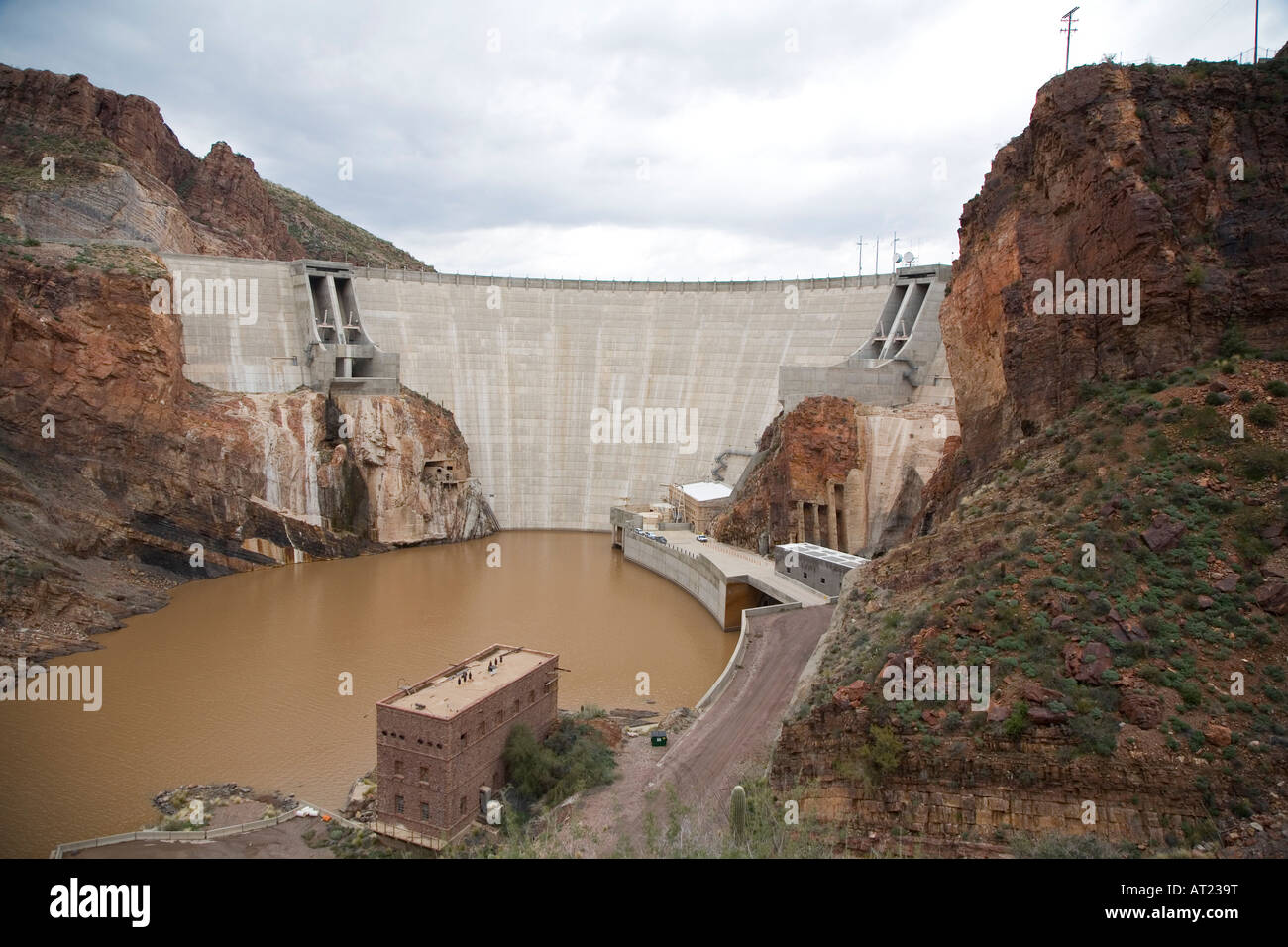 Theodore Roosevelt Dam, part of the water supply system for Phoenix - Stock Image