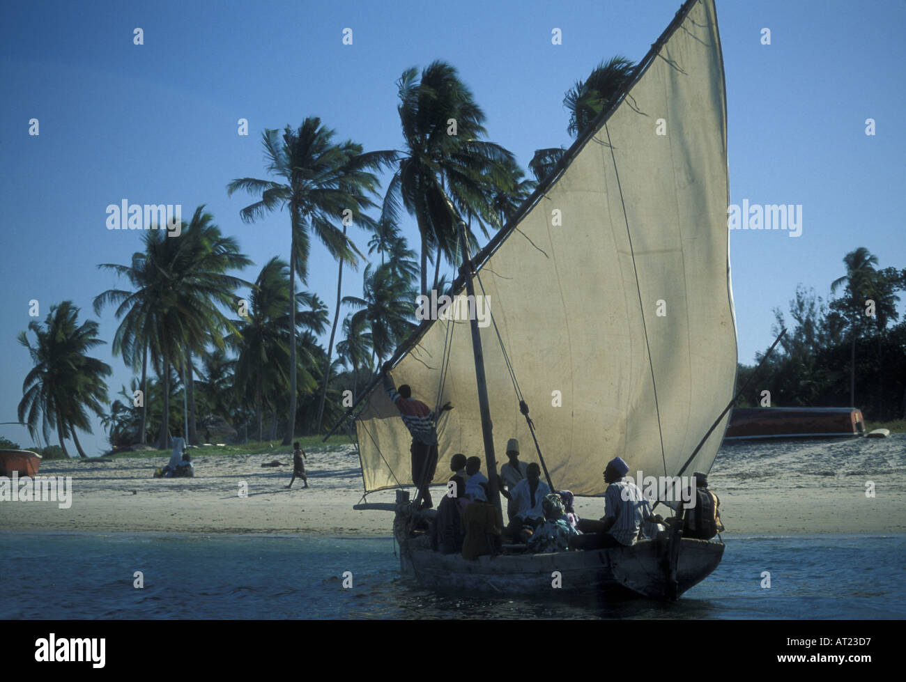 Mafia Island the Chole taxi boat ferries passengers across to other islands - Stock Image