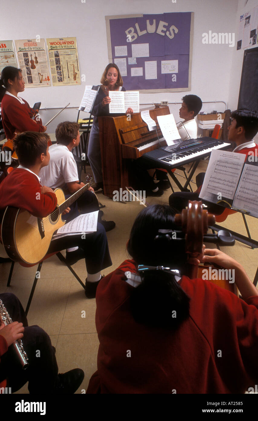 SCHOOL MUSIC GROUP BAND CLASS TEACHER Multicultural group of teenage students playing various instruments in music Stock Photo