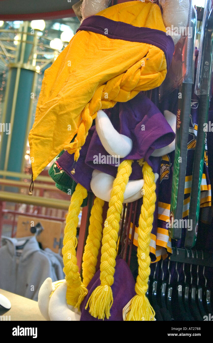 Minnesota Vikings NFL Football headgear with horns and yellow braids in  Mall of America. Bloomington Minnesota MN USA f77083ffe