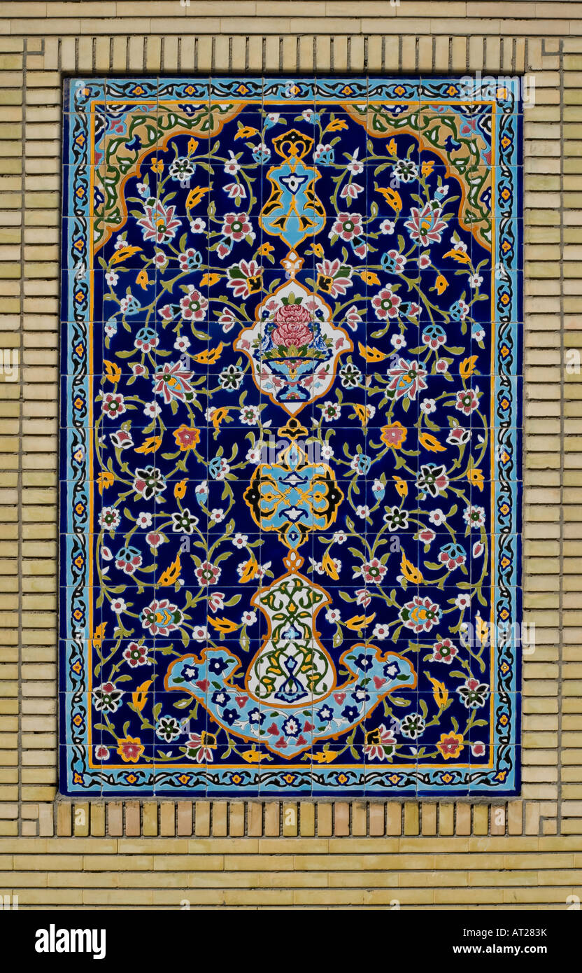 Full panel of a Persian tile installation on exterior wall of the Iranian Mosque in Jumeirah Beach Dubai - Stock Image