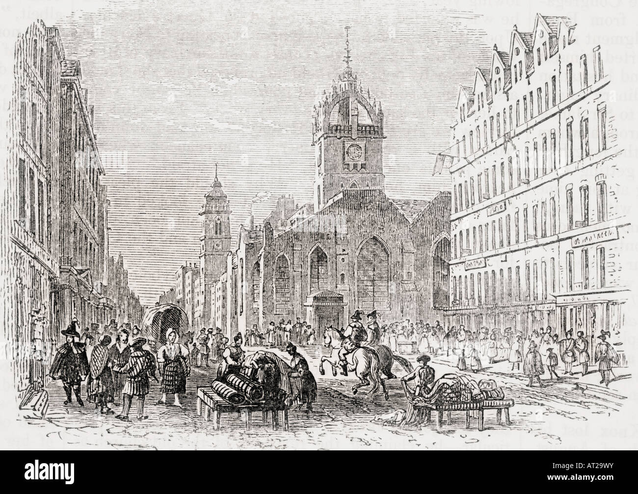 St Giles and the Old Tron Church Edinburgh Scotland in 17th century - Stock Image