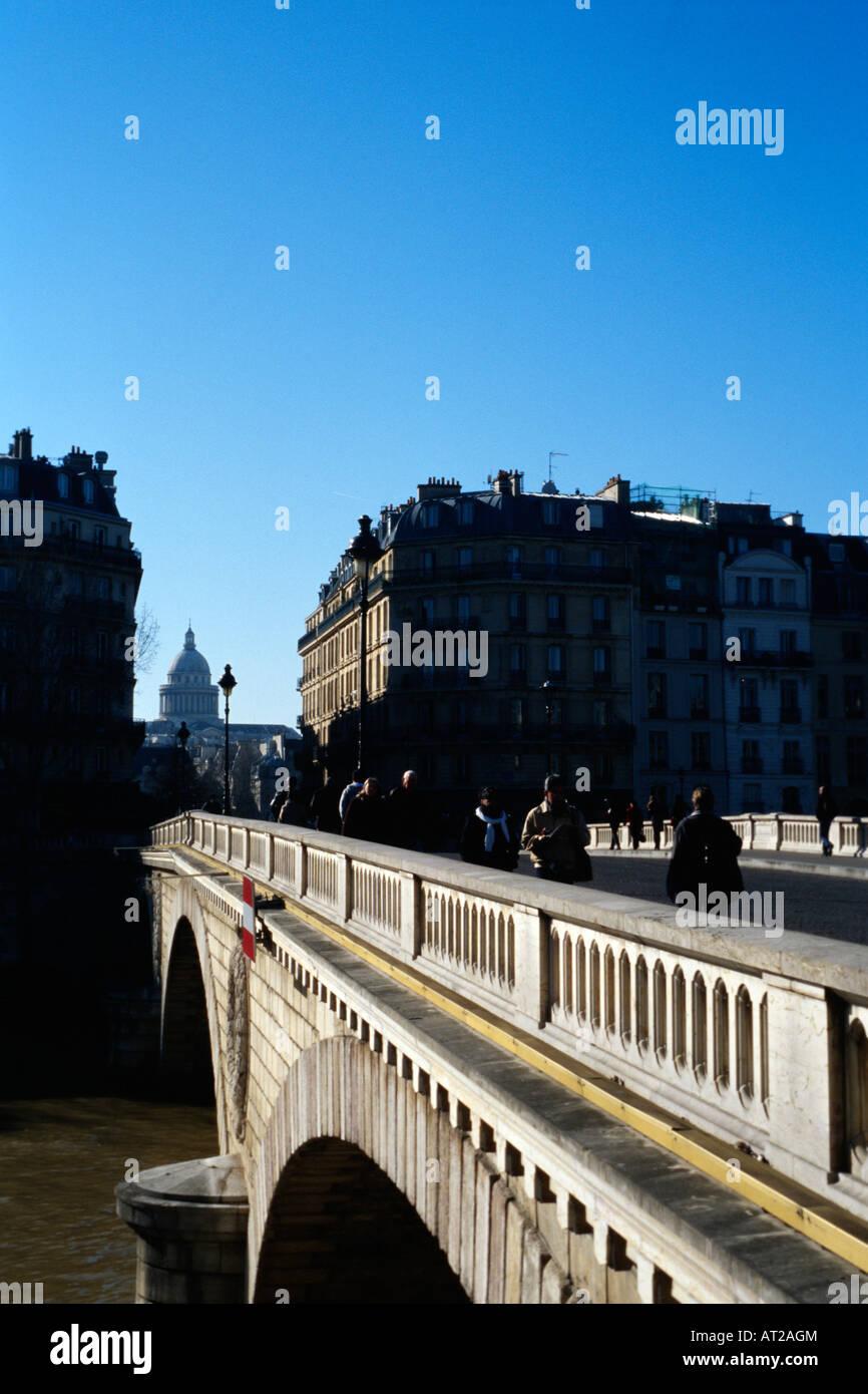 Pont Marie and the Panthéon Paris - Stock Image