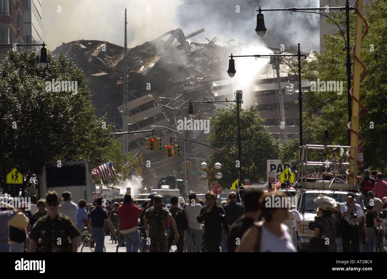 The rubble of the world trade center two days after 9 11 terrorist Attacks - Stock Image