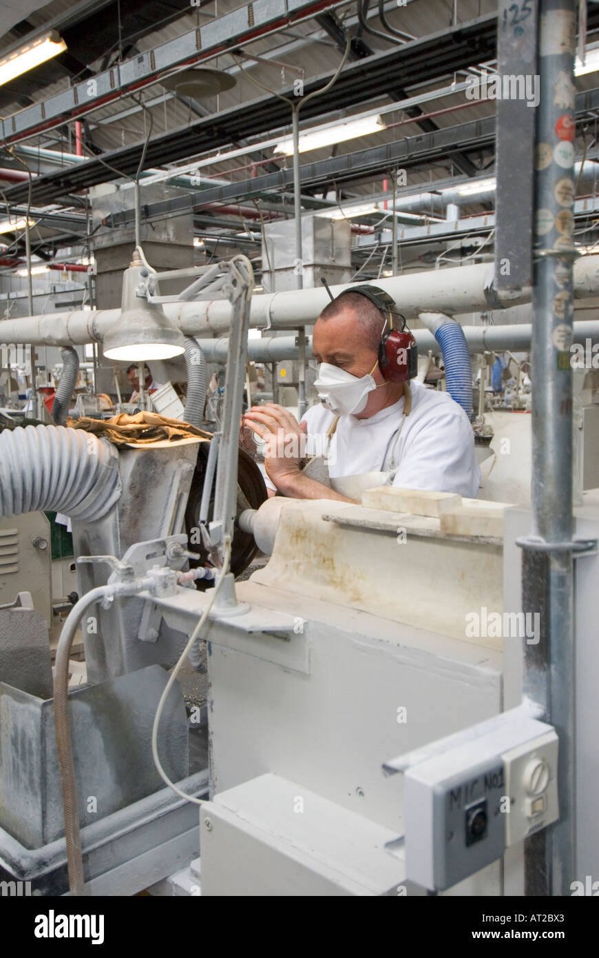 Ireland County Waterford Waterford Crystal factory guided tour glass cutter - Stock Image